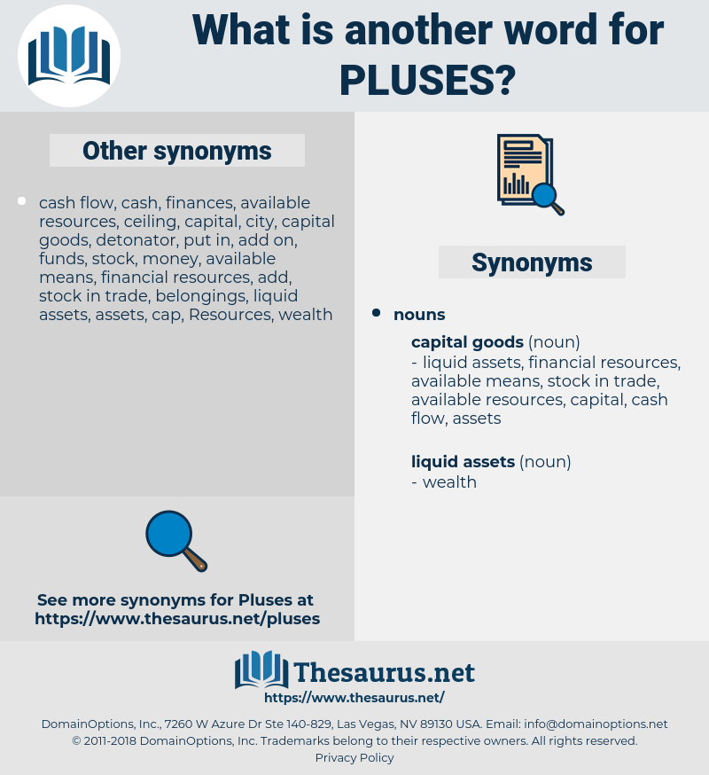 pluses, synonym pluses, another word for pluses, words like pluses, thesaurus pluses