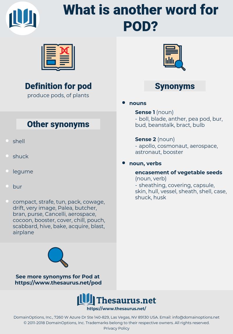 pod, synonym pod, another word for pod, words like pod, thesaurus pod
