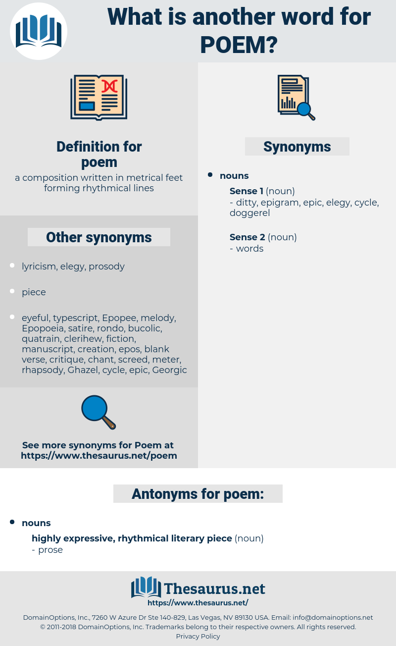 Synonyms for POEM, Antonyms for POEM - Thesaurus net