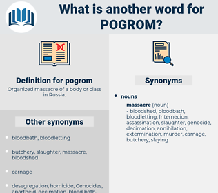 pogrom, synonym pogrom, another word for pogrom, words like pogrom, thesaurus pogrom