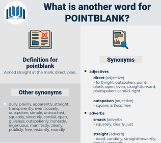 pointblank, synonym pointblank, another word for pointblank, words like pointblank, thesaurus pointblank