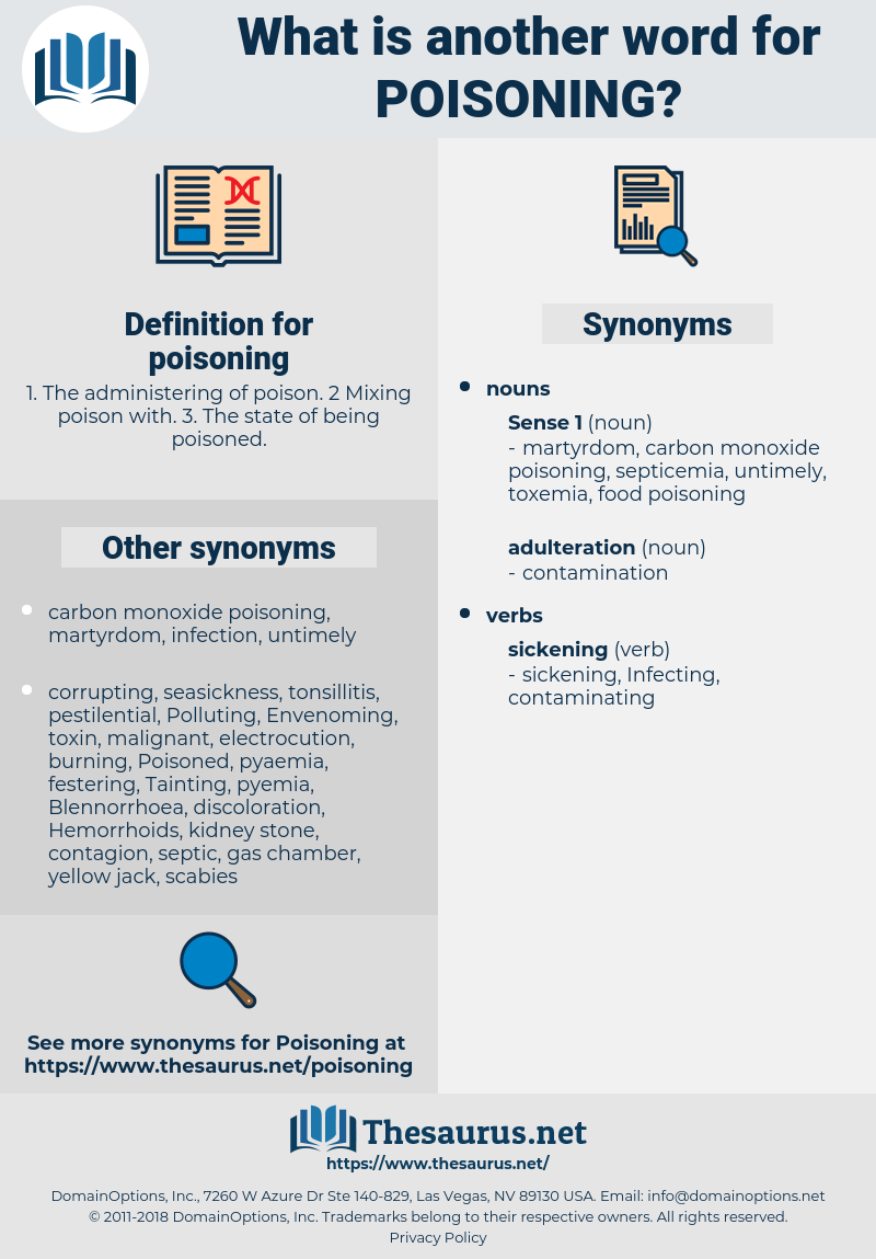 poisoning, synonym poisoning, another word for poisoning, words like poisoning, thesaurus poisoning
