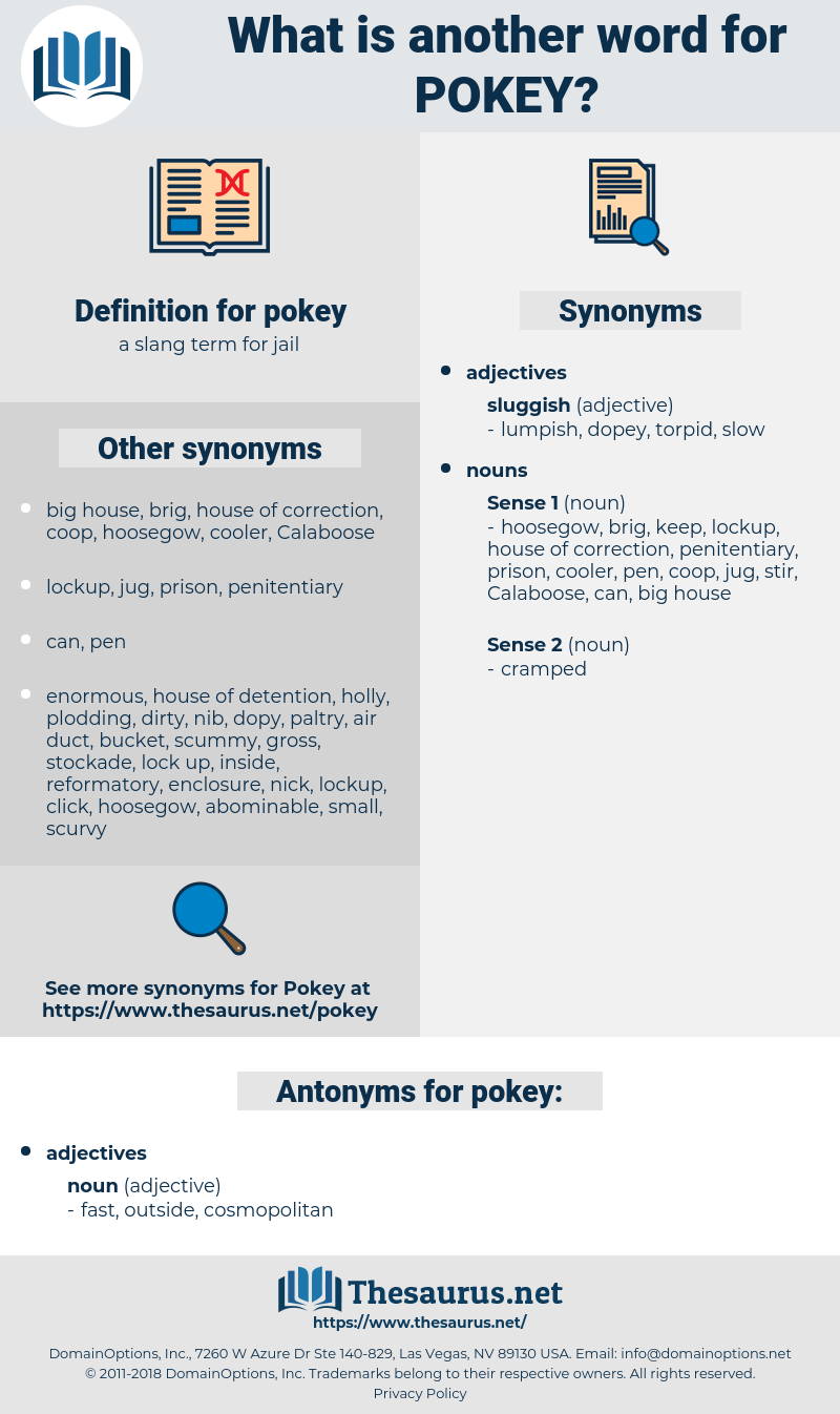 pokey, synonym pokey, another word for pokey, words like pokey, thesaurus pokey