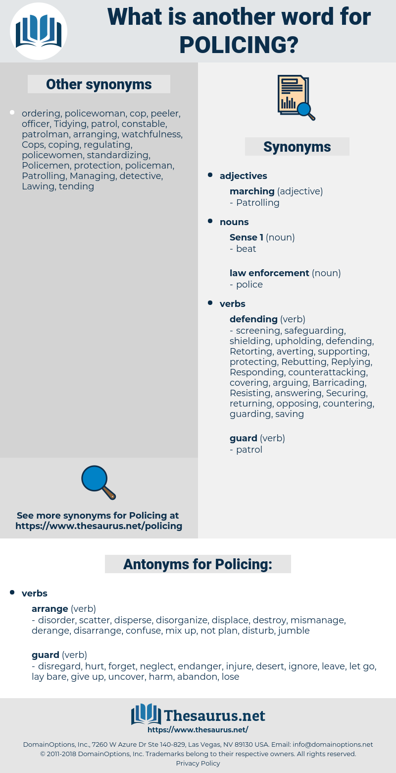 Policing, synonym Policing, another word for Policing, words like Policing, thesaurus Policing
