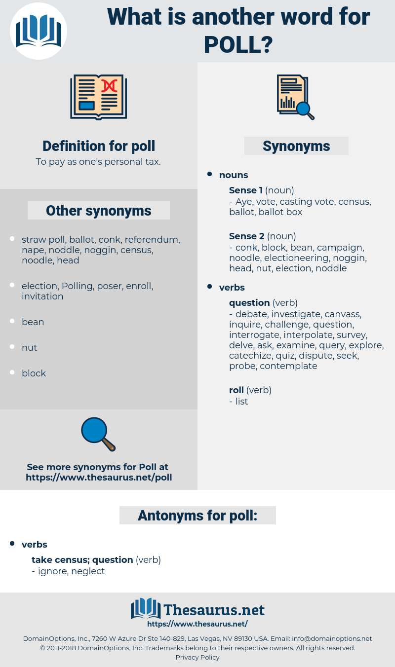 poll, synonym poll, another word for poll, words like poll, thesaurus poll