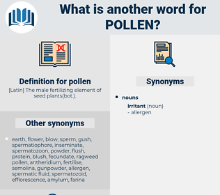 pollen, synonym pollen, another word for pollen, words like pollen, thesaurus pollen