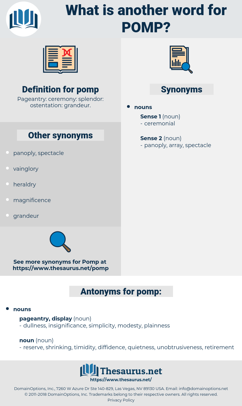 pomp, synonym pomp, another word for pomp, words like pomp, thesaurus pomp