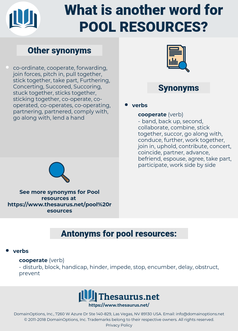 pool resources, synonym pool resources, another word for pool resources, words like pool resources, thesaurus pool resources