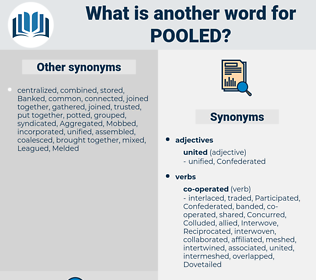 Pooled, synonym Pooled, another word for Pooled, words like Pooled, thesaurus Pooled