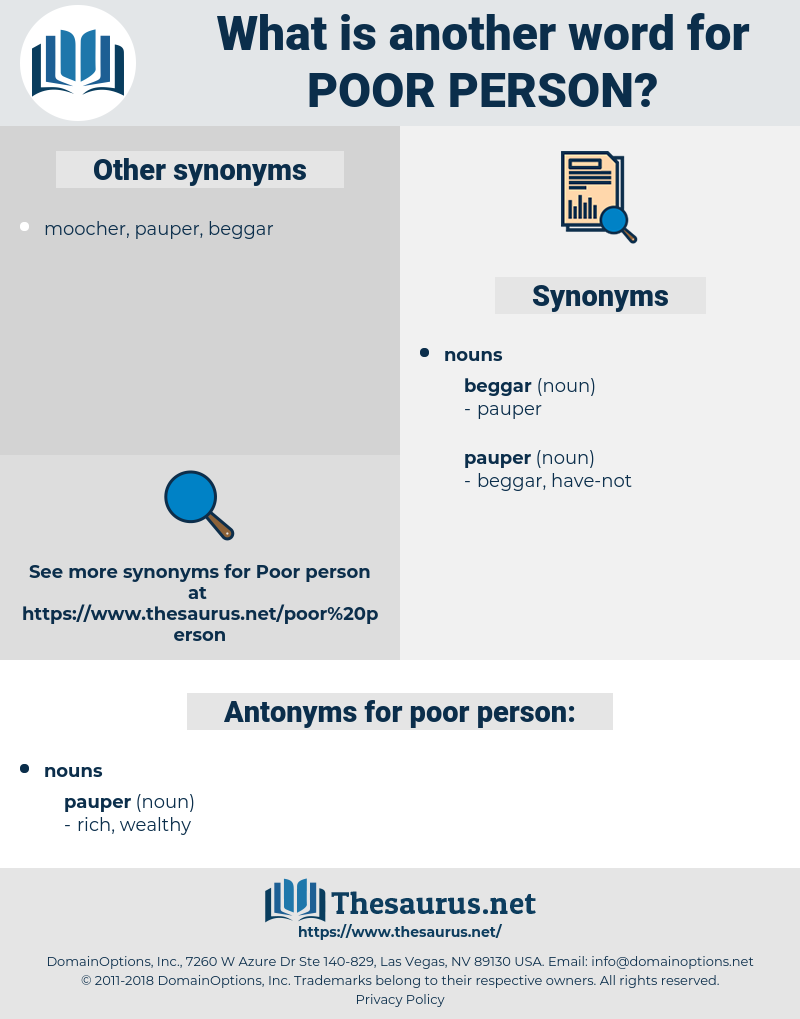 poor person, synonym poor person, another word for poor person, words like poor person, thesaurus poor person