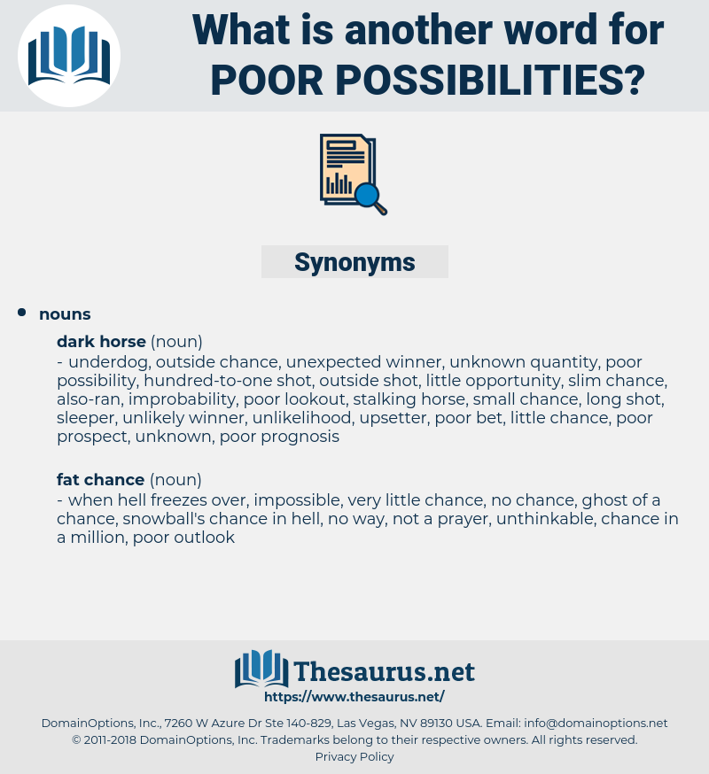 poor possibilities, synonym poor possibilities, another word for poor possibilities, words like poor possibilities, thesaurus poor possibilities
