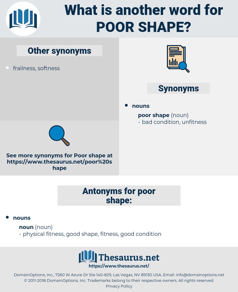 poor shape, synonym poor shape, another word for poor shape, words like poor shape, thesaurus poor shape