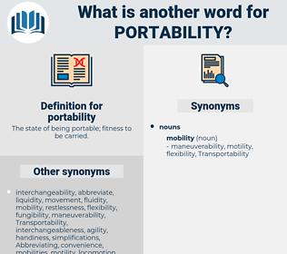 portability, synonym portability, another word for portability, words like portability, thesaurus portability