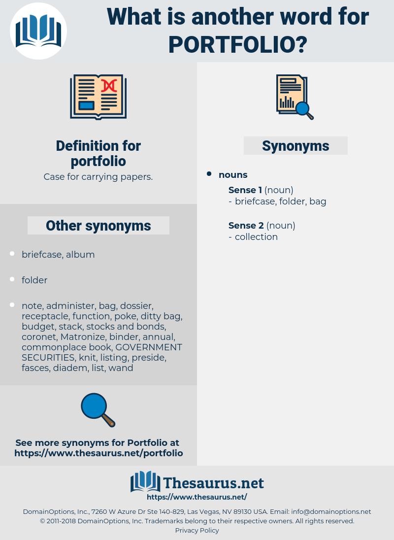 portfolio, synonym portfolio, another word for portfolio, words like portfolio, thesaurus portfolio