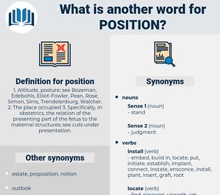 position, synonym position, another word for position, words like position, thesaurus position