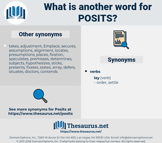 posits, synonym posits, another word for posits, words like posits, thesaurus posits