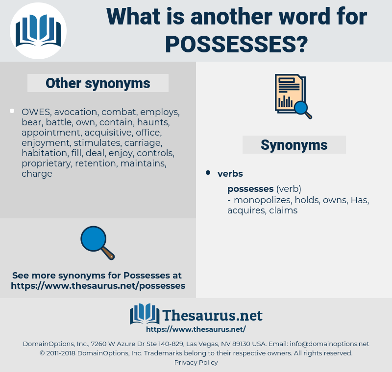 possesses, synonym possesses, another word for possesses, words like possesses, thesaurus possesses