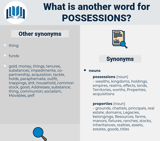 possessions, synonym possessions, another word for possessions, words like possessions, thesaurus possessions