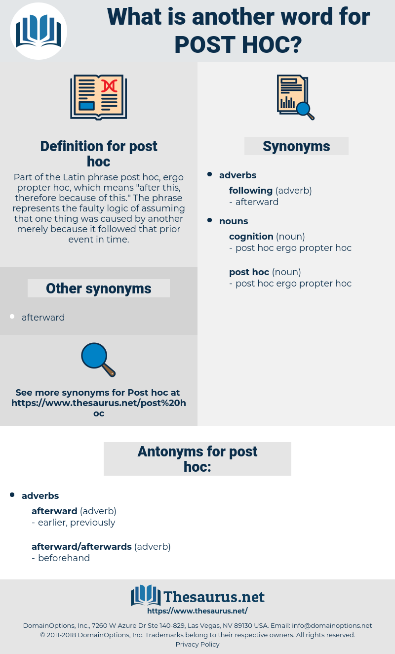 post hoc, synonym post hoc, another word for post hoc, words like post hoc, thesaurus post hoc