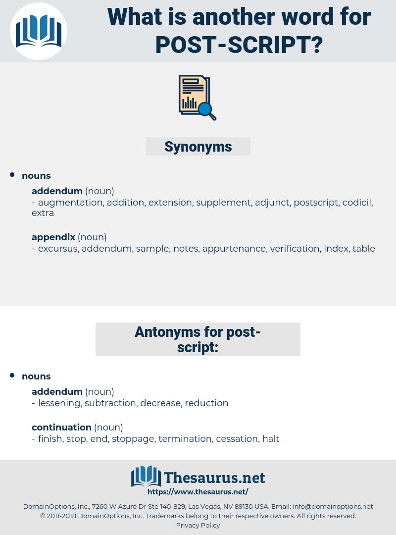 post script, synonym post script, another word for post script, words like post script, thesaurus post script