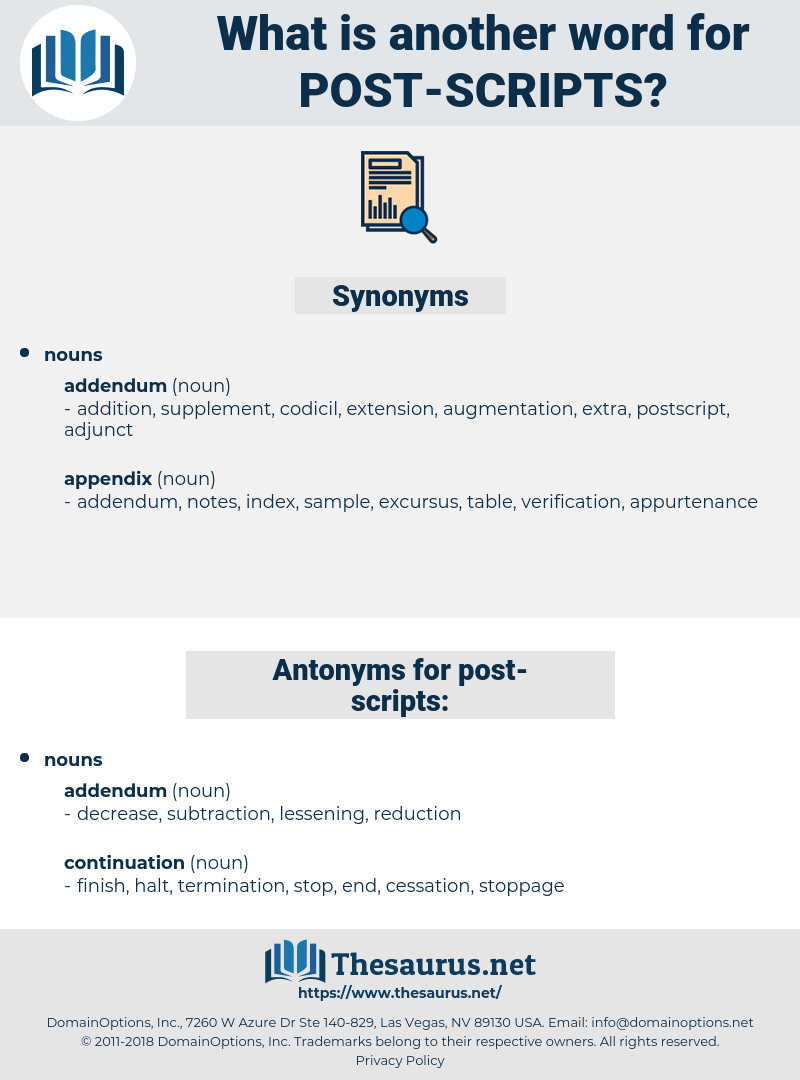 post scripts, synonym post scripts, another word for post scripts, words like post scripts, thesaurus post scripts