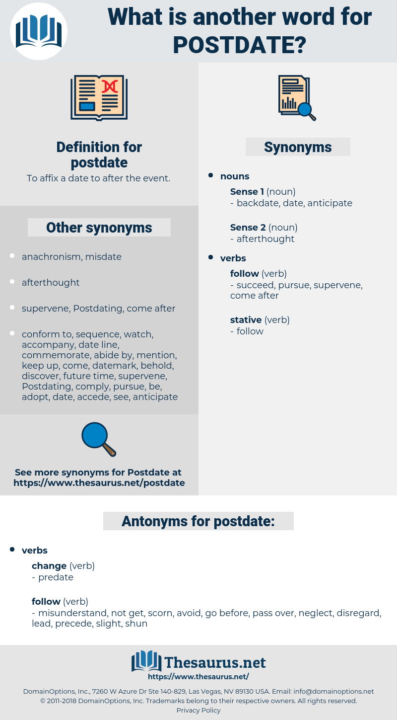 postdate, synonym postdate, another word for postdate, words like postdate, thesaurus postdate