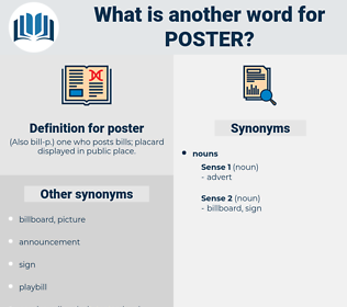 poster, synonym poster, another word for poster, words like poster, thesaurus poster