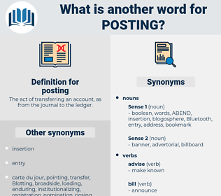 posting, synonym posting, another word for posting, words like posting, thesaurus posting