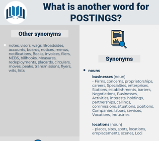 postings, synonym postings, another word for postings, words like postings, thesaurus postings