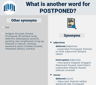 postponed, synonym postponed, another word for postponed, words like postponed, thesaurus postponed