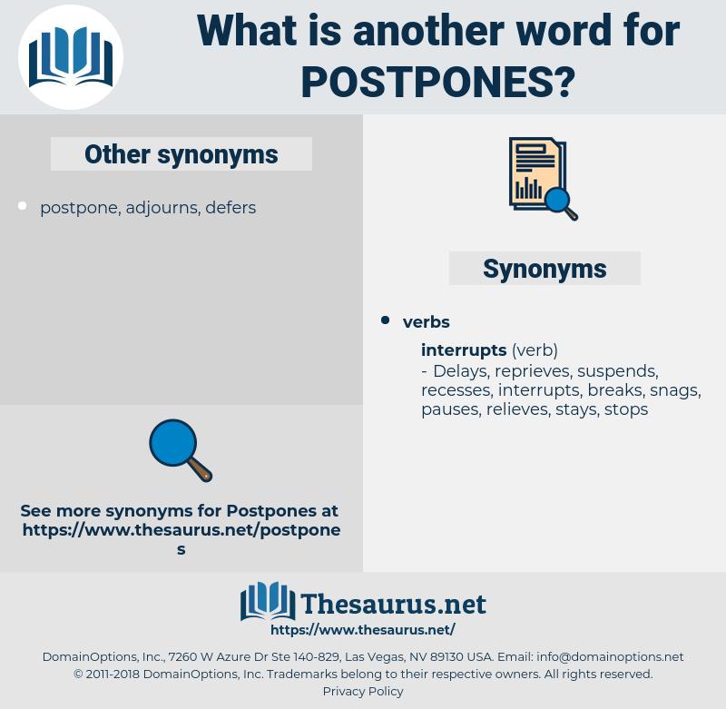 postpones, synonym postpones, another word for postpones, words like postpones, thesaurus postpones