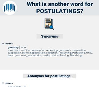postulatings, synonym postulatings, another word for postulatings, words like postulatings, thesaurus postulatings