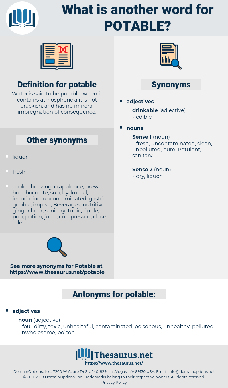 potable, synonym potable, another word for potable, words like potable, thesaurus potable