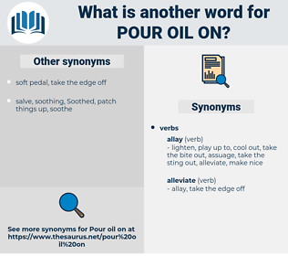 pour oil on, synonym pour oil on, another word for pour oil on, words like pour oil on, thesaurus pour oil on