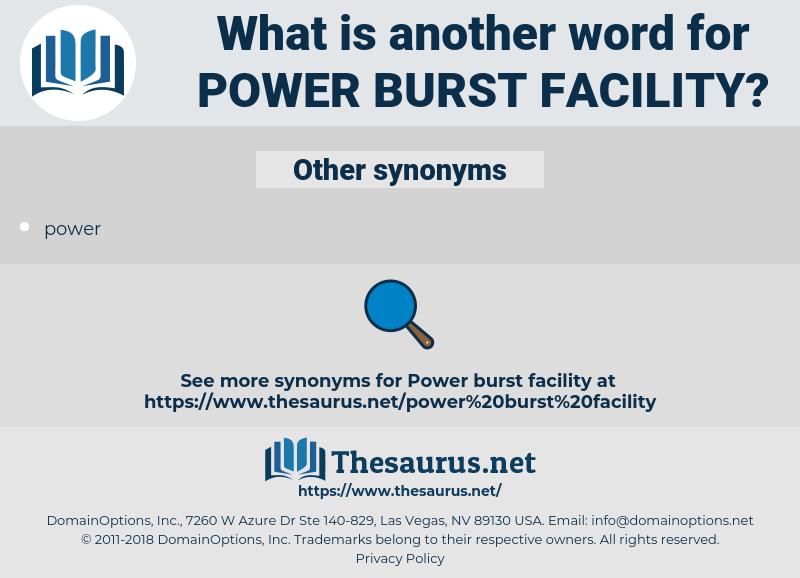 power burst facility, synonym power burst facility, another word for power burst facility, words like power burst facility, thesaurus power burst facility