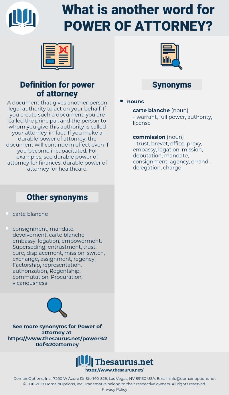 power of attorney, synonym power of attorney, another word for power of attorney, words like power of attorney, thesaurus power of attorney