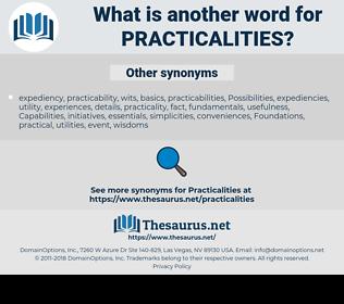 practicalities, synonym practicalities, another word for practicalities, words like practicalities, thesaurus practicalities