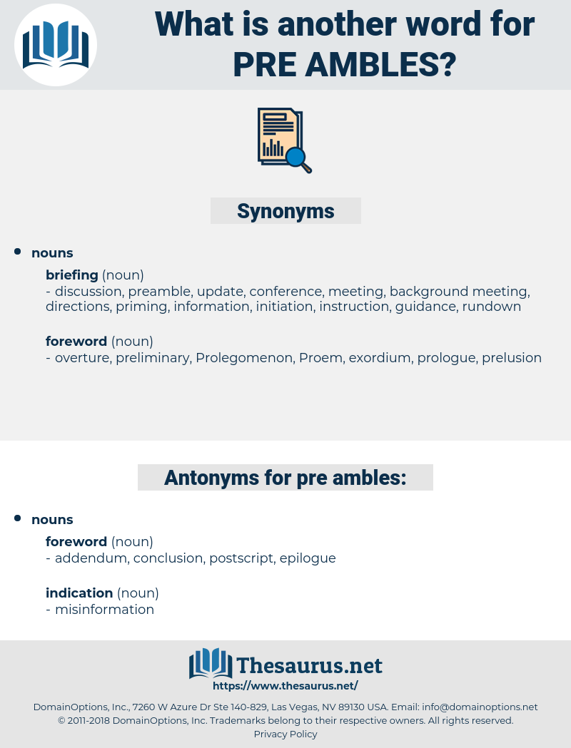 pre-ambles, synonym pre-ambles, another word for pre-ambles, words like pre-ambles, thesaurus pre-ambles