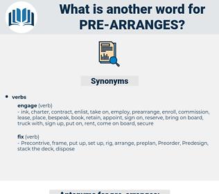 pre-arranges, synonym pre-arranges, another word for pre-arranges, words like pre-arranges, thesaurus pre-arranges