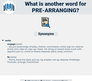 pre-arranging, synonym pre-arranging, another word for pre-arranging, words like pre-arranging, thesaurus pre-arranging