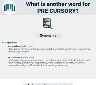 pre-cursory, synonym pre-cursory, another word for pre-cursory, words like pre-cursory, thesaurus pre-cursory
