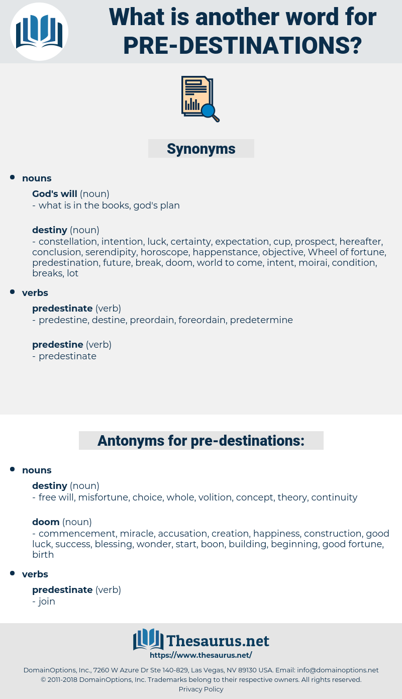 pre destinations, synonym pre destinations, another word for pre destinations, words like pre destinations, thesaurus pre destinations