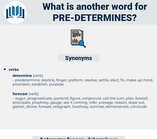 pre determines, synonym pre determines, another word for pre determines, words like pre determines, thesaurus pre determines