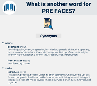 pre faces, synonym pre faces, another word for pre faces, words like pre faces, thesaurus pre faces