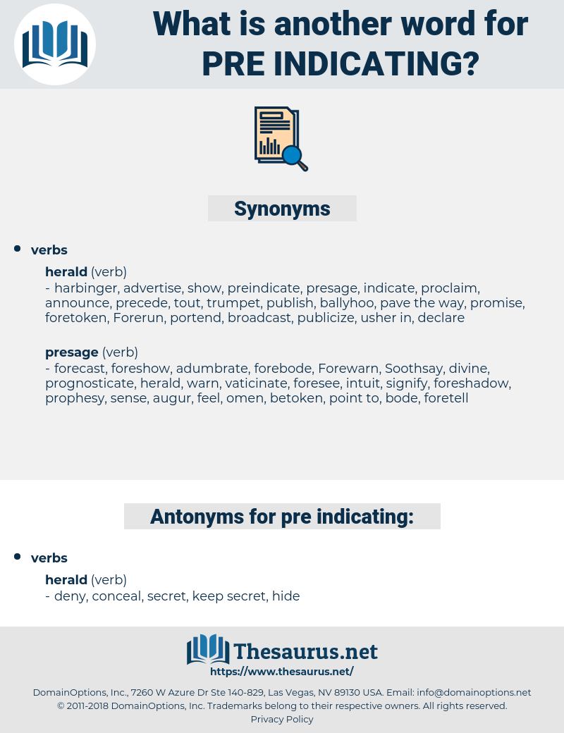 pre-indicating, synonym pre-indicating, another word for pre-indicating, words like pre-indicating, thesaurus pre-indicating