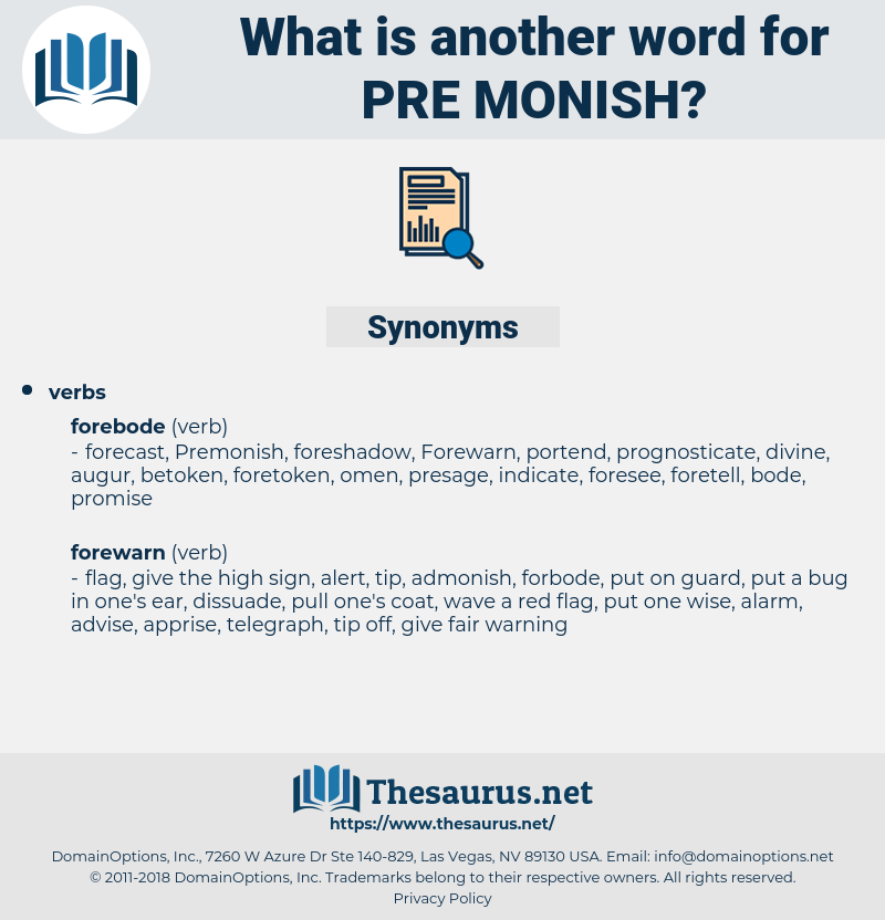 pre monish, synonym pre monish, another word for pre monish, words like pre monish, thesaurus pre monish
