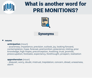 pre-monitions, synonym pre-monitions, another word for pre-monitions, words like pre-monitions, thesaurus pre-monitions
