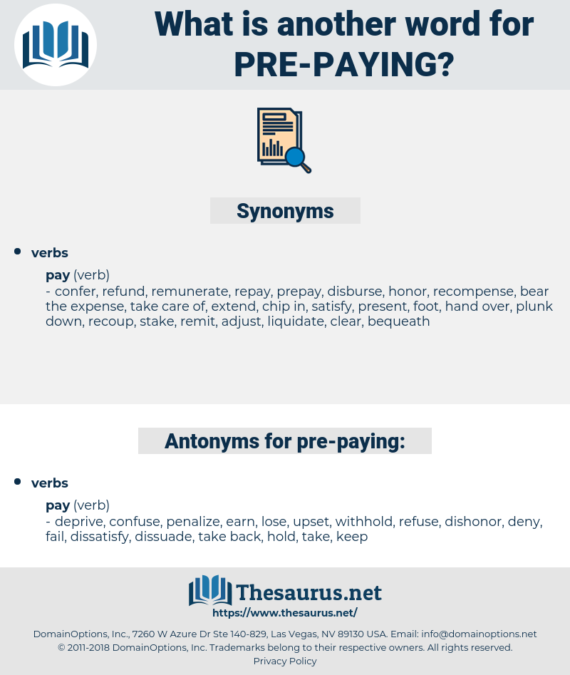 pre-paying, synonym pre-paying, another word for pre-paying, words like pre-paying, thesaurus pre-paying