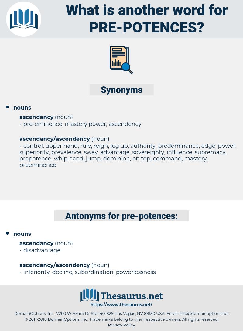 pre-potences, synonym pre-potences, another word for pre-potences, words like pre-potences, thesaurus pre-potences