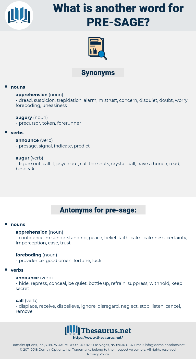 pre sage, synonym pre sage, another word for pre sage, words like pre sage, thesaurus pre sage